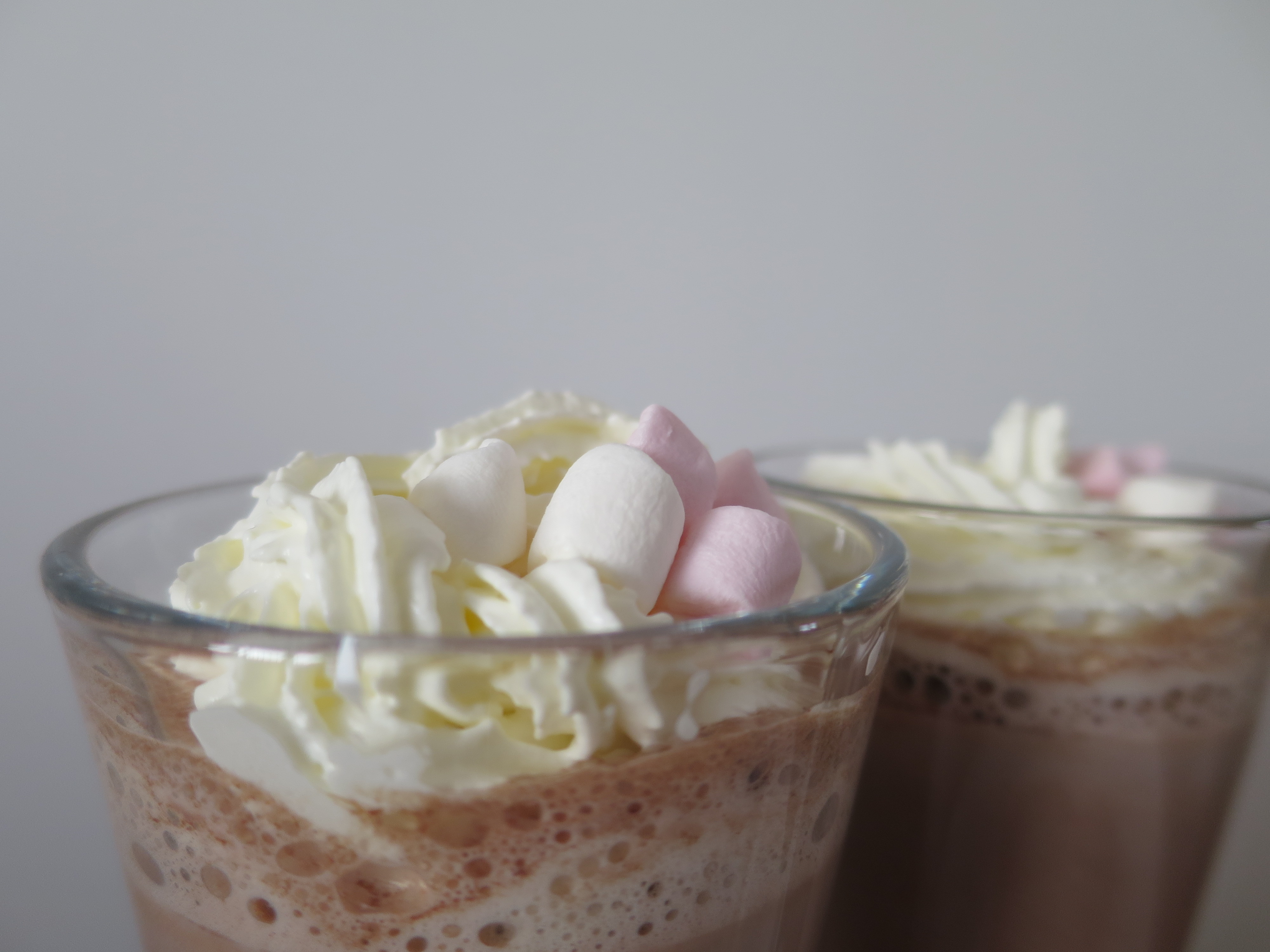 Peanut butter hot chocolate cream and marshmallows