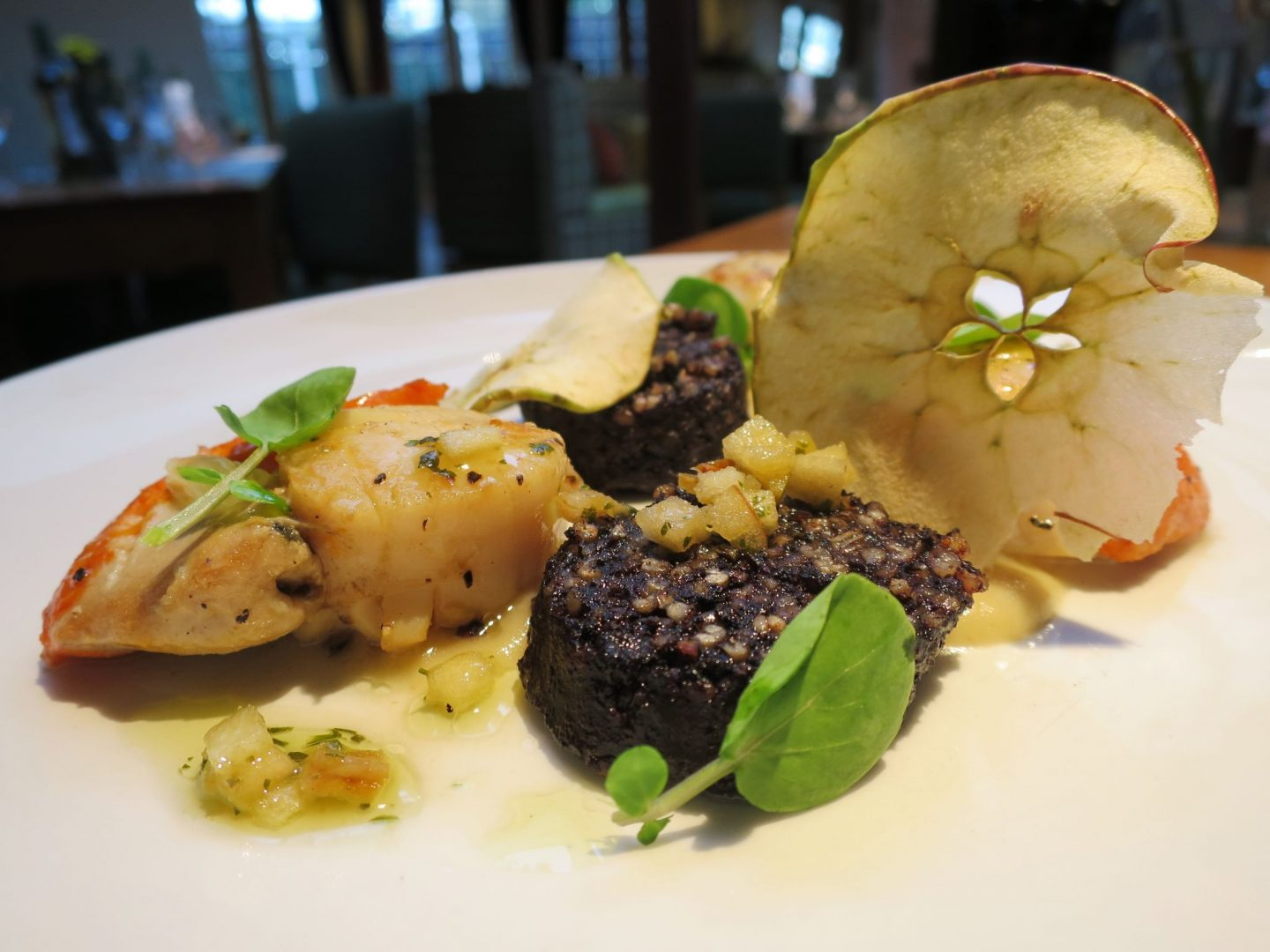 The Swan Salford Review - Scallops and black pudding starter