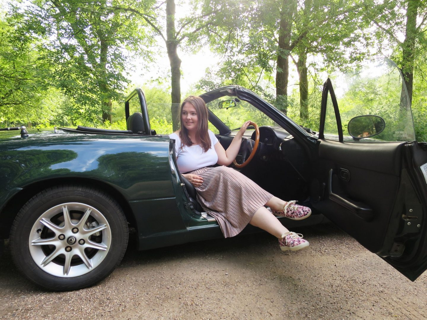 Wearning my Mabel shoes by Hotter - sitting in a Mazda MX-5