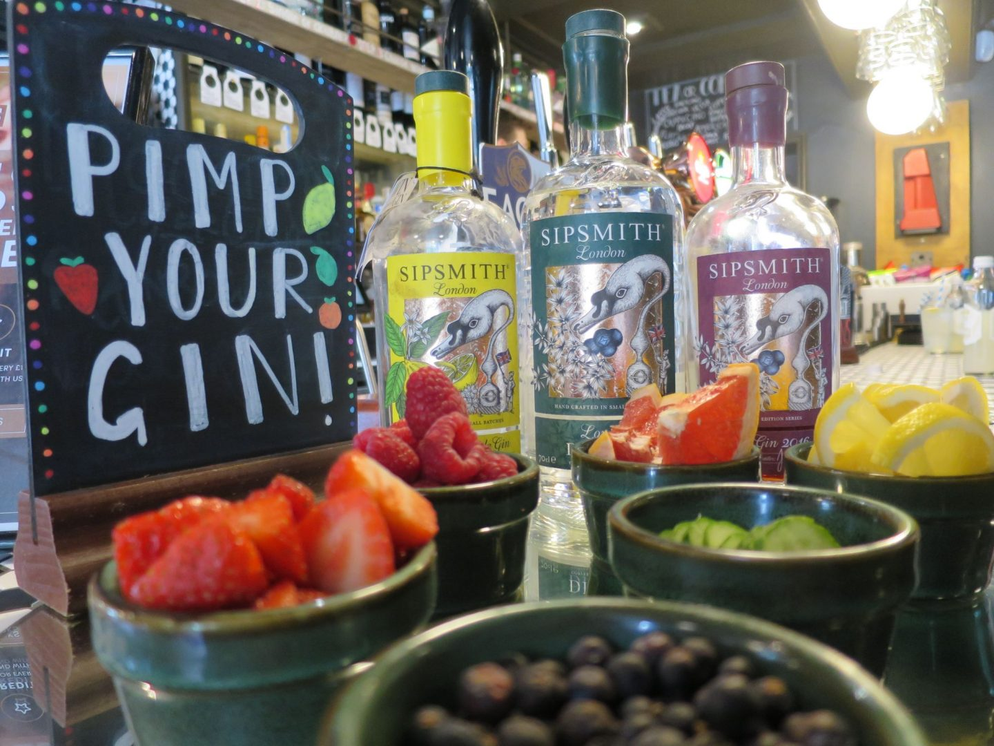 Pimp your gin station on the bar at The Wheatsheaf Bow Brickhill, with Sipsmith gin and lots of fruits