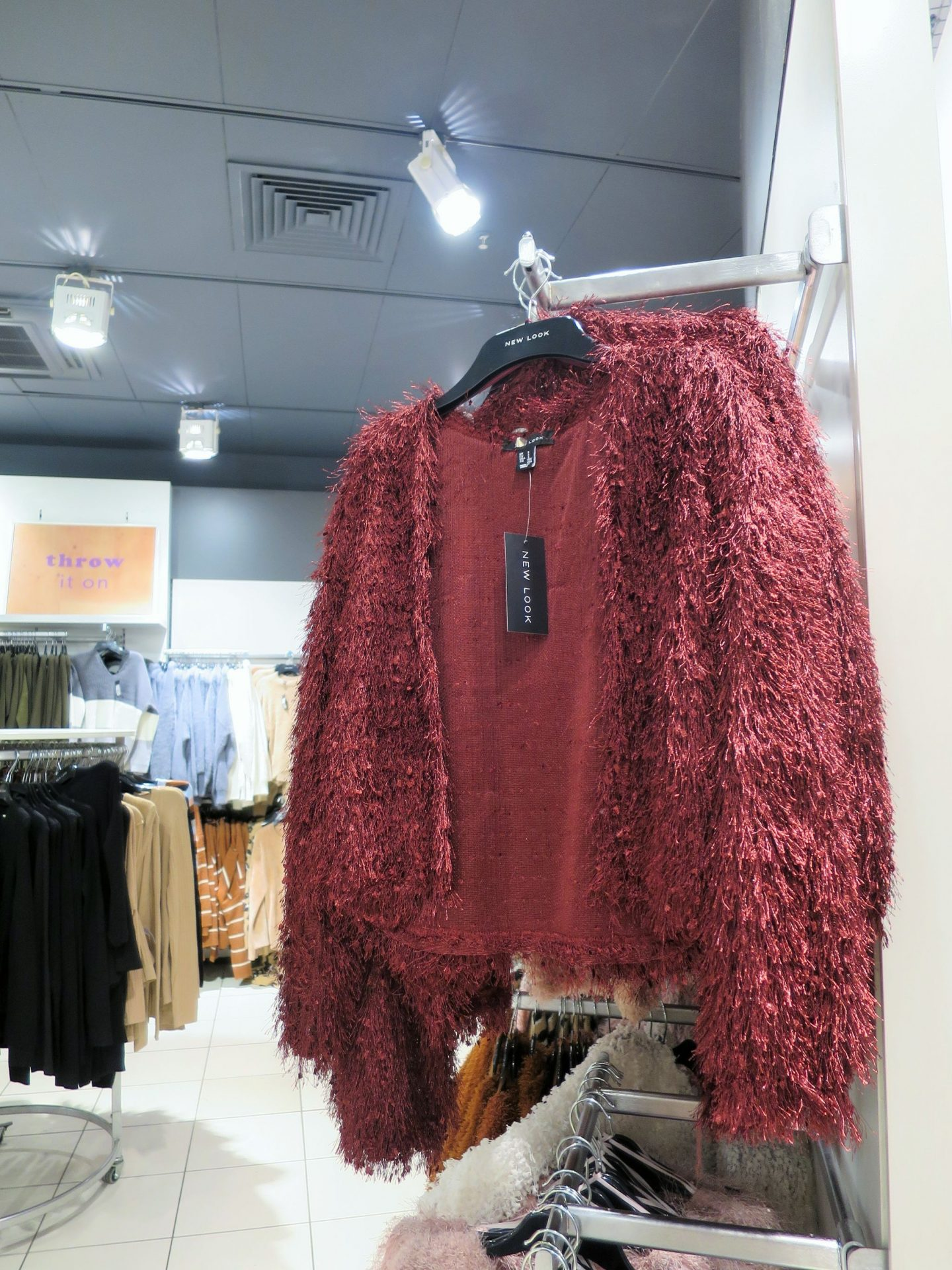Burgundy fluffy cardigan from New Look