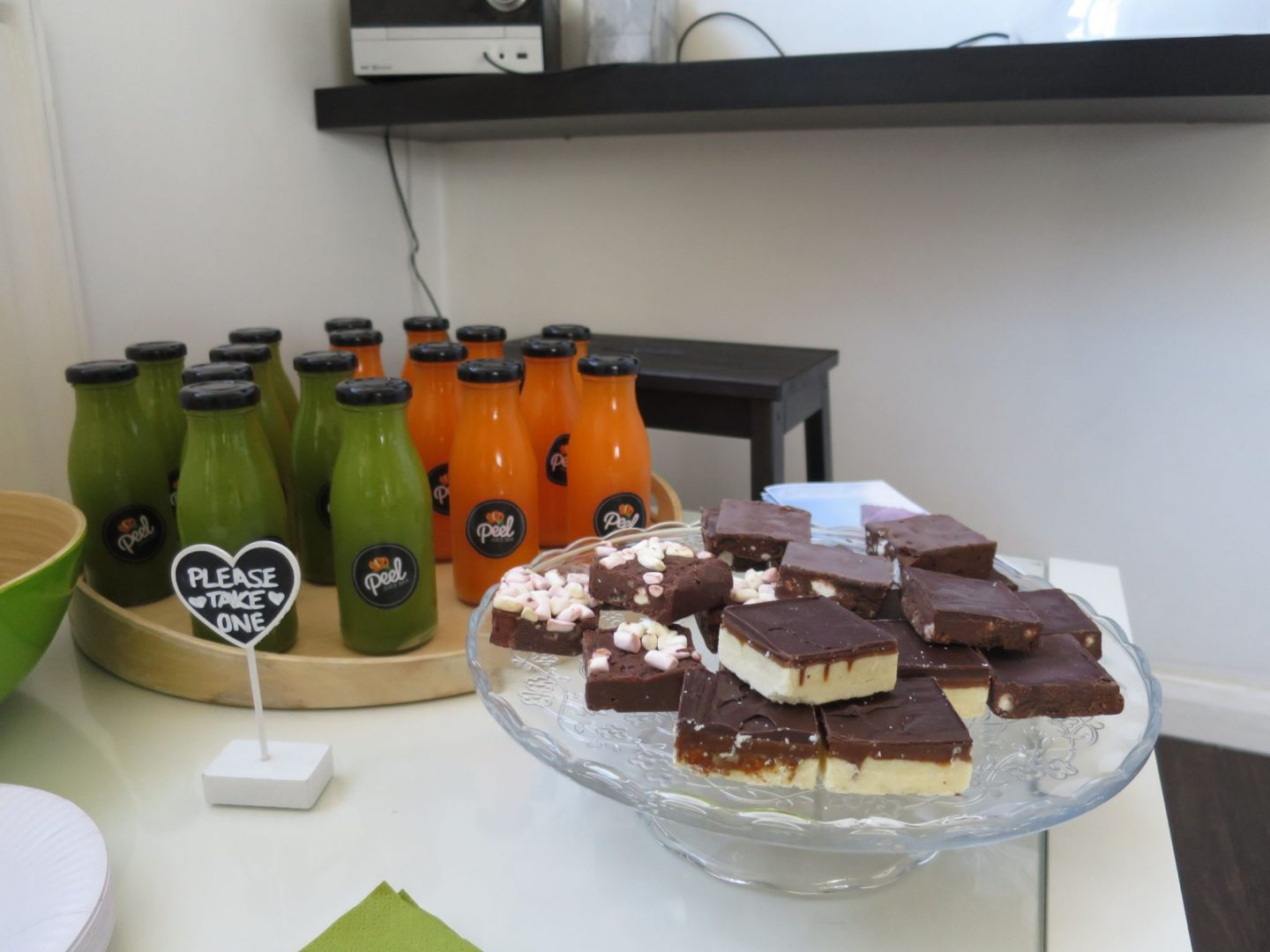 Peel juice bar juices and cakes at Whitespace Studio