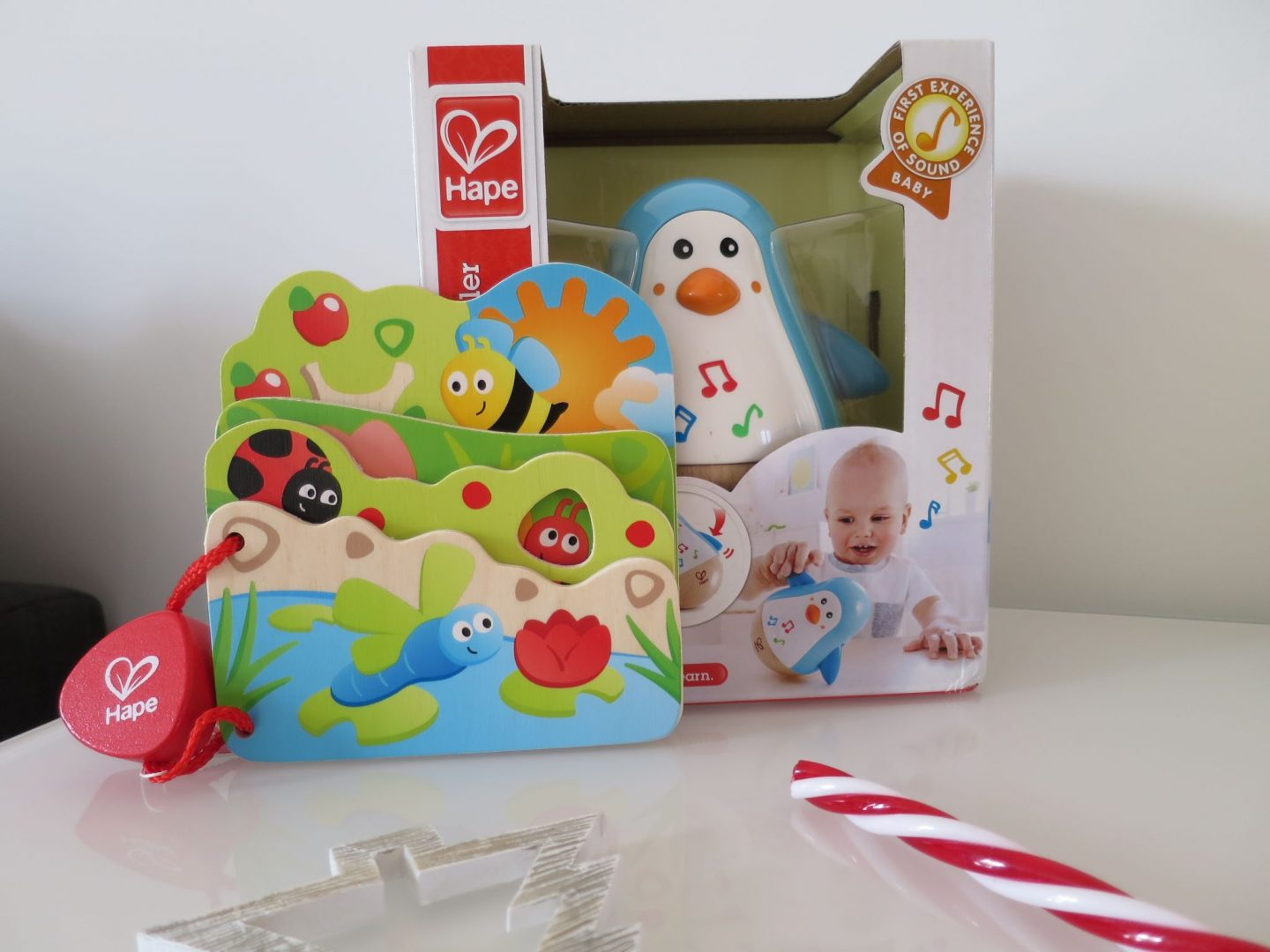 Hape Bug book and Hape Musical Penguin